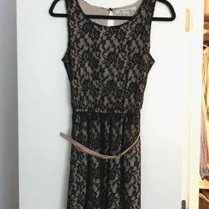 Black and Nude Lace Dress - American Rag